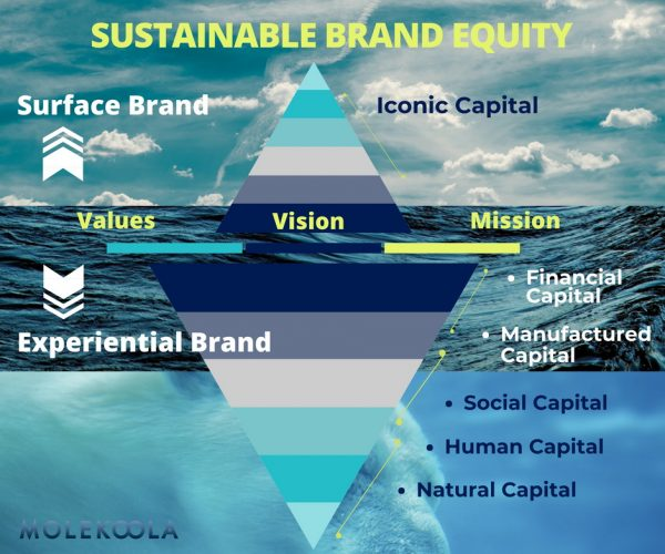 Brand Equity Iceberg, with 5 capitals